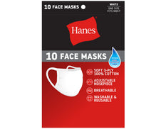Hanes 10 Face Masks Wicking Cool Comfort Fabric Cotton One Size Fits Most White