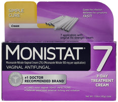 Monistat 7 Vaginal Antifungal Cream with Disposable Applicators 1.59 Ounce Tube