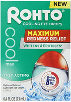 Rohto Cooling Eye Drops Maximum Redness Relief, Lubricates & Protects 0.4  Ounce