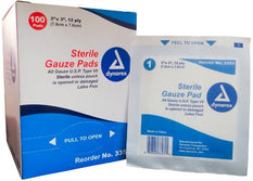 Dynarex Sterile Gauze Pads 3 X 3 12-Ply Single Wound Care #3353 100 Bandages