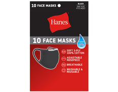 Hanes 10 Face Masks Wicking Cool Comfort Fabric Cotton One Size Fits Most Black