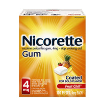 Nicorette Nicotine Gum 4mg Fruit Chill Flavor 100 Pieces Each