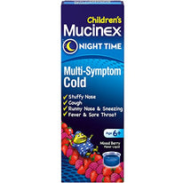 Mucinex Childrens Night Time Multi Symptom Cold Liquid Very Berry 4 Ounce Each