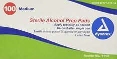 Dynarex Alcohol Prep Pads Medium #1114 100 Latex Free Sterile Pads