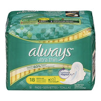 Always Ultra Thin Pads Regular Flexi-Wings 18 Each
