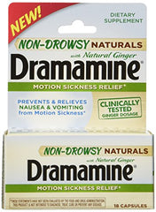 Dramamine Non-Drowsy Naturals with Natural Ginger 18 Capsules Each