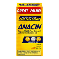 Anacin Fast Pain Relief Aspirin & Caffeine Pain Reliever 300 Coated Tablets Each