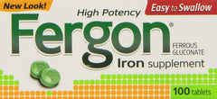Fergon High Potency Iron Supplement Tablets 100 Count