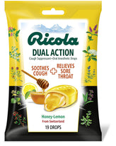 Ricola Dual Action Cough - Throat Drops Honey Lemon 19 Count Each