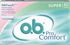 o.b. Pro Comfort Super Tampons SilkTouch No Applicator Waste 40 Count
