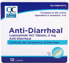 Quality Choice Anti-Diarrheal Loperamide HCI Tablets 2 mg 12 Caplets