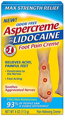 Aspercreme Lidocaine Foot Pain Creme Max Strength Odor Free 4 Ounce