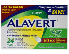 Alavert Quick Dissolving Non-Drowsy Allergy Relief Tabs Fresh Mint 60 Count