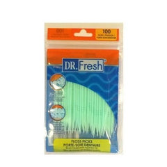 Dr. Fresh Dental Floss Picks Soft Bristles Toothpicks 100 Count