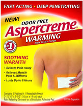 Aspercreme Warming Pain Relief Patch Odor Free Fast Acting 5 patches