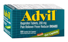 Advil Ibuprofen Tablets 200mg Pain Reliever/Fever Reducer 100 Gel Caplets Each