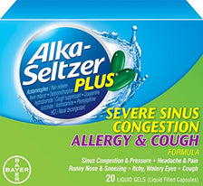 Alka-Seltzer Plus Severe Sinus Congestion Allergy and Cough 20 Gels Each