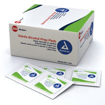 Dynarex Alcohol Prep Pads Medium #1113 200 Latex Free Sterile Pads