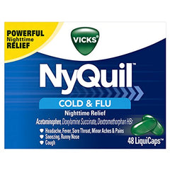Vicks NyQuil Cold and Flu Nighttime Relief LiquiCaps  48 Count Each