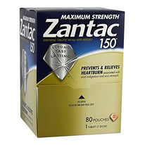 Zantac Maximum Strength 150 mg Acid Reducer 1 Tablet Packets 80-Pack Box