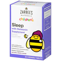 Zarbee's Children's Sleep Melatonin Supplement Grape Flavor 30 Chewable Tablets
