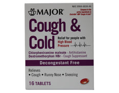 Major Cough & Cold Relief for People with High Blood Pressure 16 Tablets