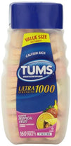 Tums Ultra Strength 1000 Antacid Tablets Tropical Assorted Fruit 160 Each