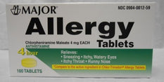 Major Allergy Chlorpheniramine Maleate 4mg 100 Tablets