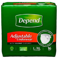 Depend Adjustable Underwear  Maximum Absorbency L/XL  16 Each