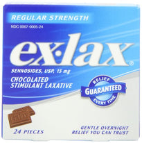 Ex-Lax Sennosides Chocolated Stimulant Laxative Regular 24 Pieces