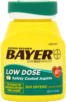 BAYER LOW DOSE 81mg DAILY ASPIRIN REGIMEN 300 ENTERIC COATED TABLETS
