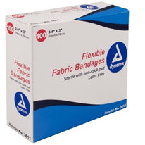 Dynarex Flexible Fabric Sterile Bandages #3611 3/4 x3 100 Count