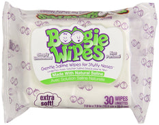 Boogie Wipes Gentle Saline Unscented Wipes for Stuffy Noses Extra Soft 30 Count