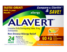 Alavert Allergy Disintegrating Citrus Burst 10mg Antihistamine 60 Tablets