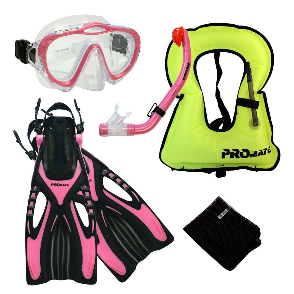 Junior Snorkeling Scuba Diving Mask DRY Snorkel Fins Set for kids with vest - SCS0040+SV01-Small