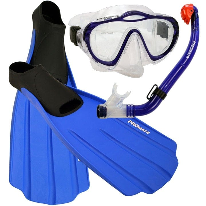Junior Snorkeling Scuba Diving PURGE Mask DRY Snorkel FULL FOOT Fins Set for kids - SCS0075