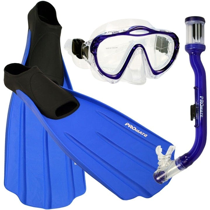 Junior Snorkeling Scuba Dive Mask DRY Snorkel FULL FOOT Fins Set for kids - SCS0076