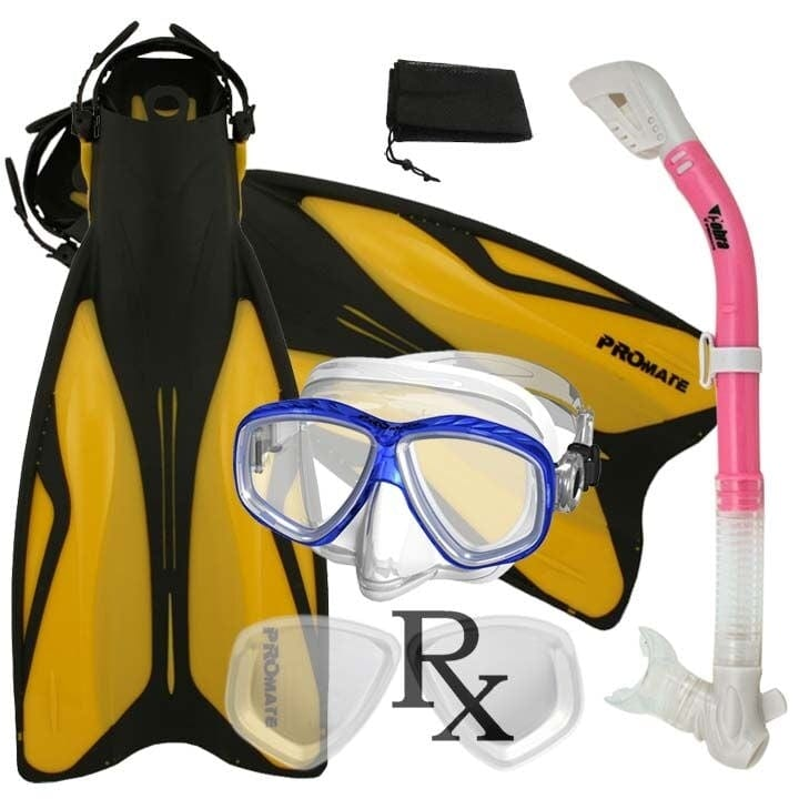 Promate PRESCRIPTION Snorkeling Set, Force Fins Dry Snorkel Scuba Diving Purge Mask - SCS0084 RX