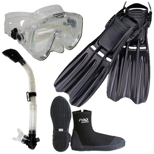 Scuba Diving Fins Boots Extra-Wide Mask Snorkel Set - SCS0085