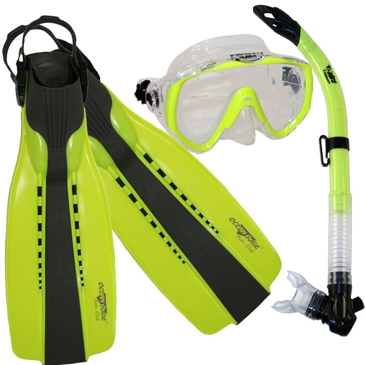 Scuba Diving Fins Snorkel Extra-Wide Scuba Mask Set - SCS0086