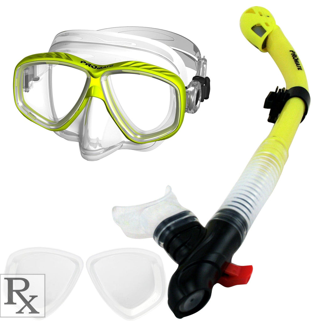 Promate Pro Slender Prescription Snorkeling Purge Mask and Ultra Dry Snorkel Combo Set - SCS0096 RX