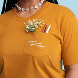 Casual Business Woman Pocket Tee - Mustard