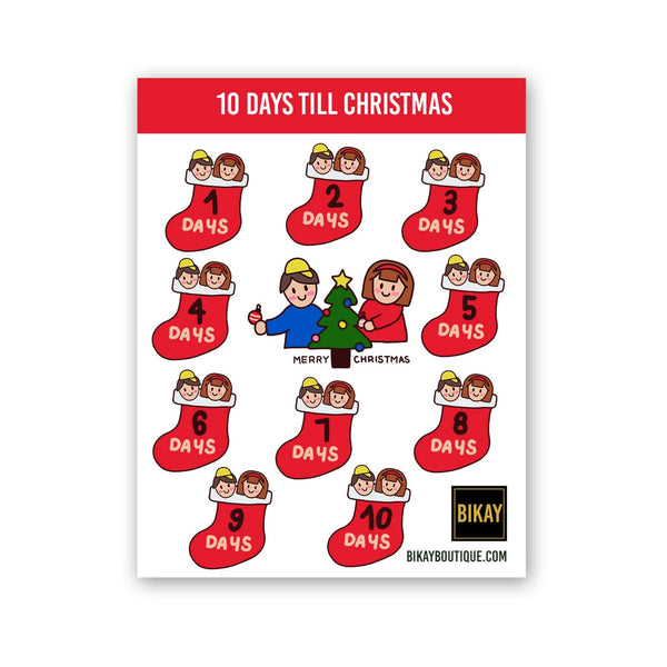 Cute Christmas Countdown Sticker Set