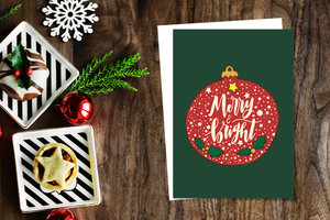 Merry and Bright Christmas Card (Single or Card Pack)