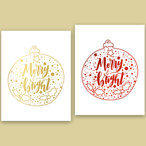 Foiled Merry and Bright Ornament Greeting Card (Single or Card Pack)