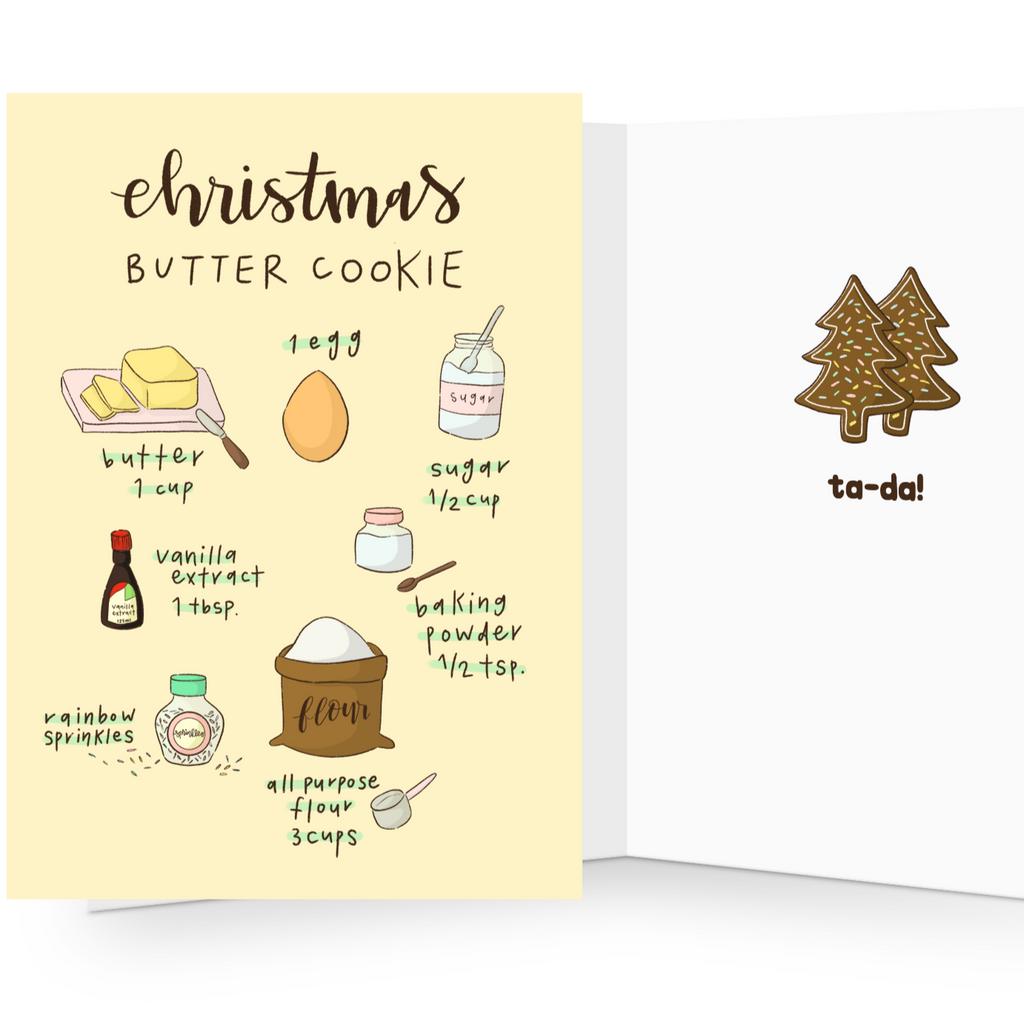 Christmas cookie recipe greeting card, Perfect for the bakers!