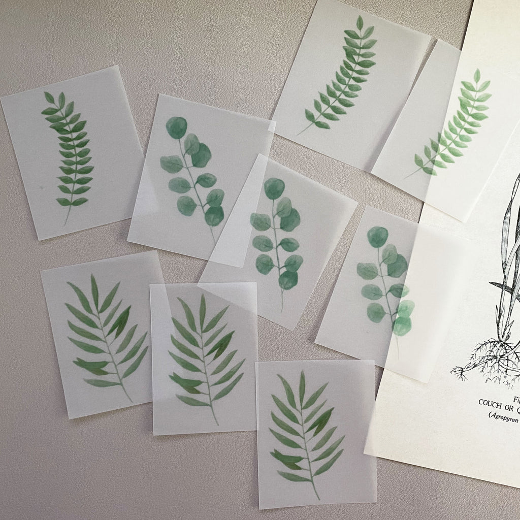 Watercolor leaves vellum paper pack