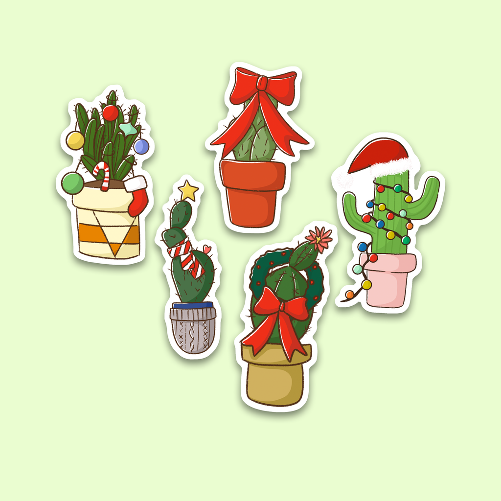 Cactus Christmas Stickers Set