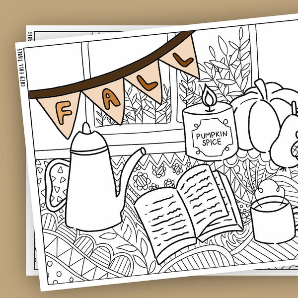 Cozy fall table Coloring Pages