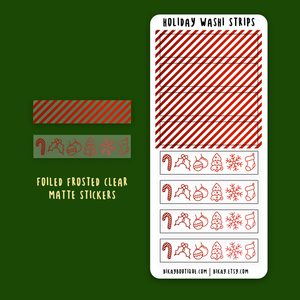 Foiled Holiday washi strips sticker sheet